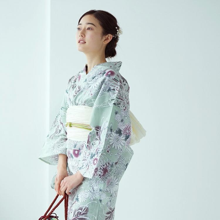 品番 5010153511 / 浴衣3点セット utatane 古典柄 レトロ アンティーク 系 糸菊 グリーン 系(画像)