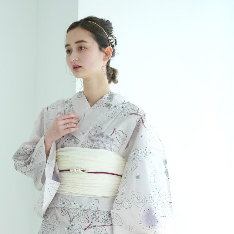 品番 5010154211 / 浴衣3点セット utatane 華やか 可愛い 系 紫陽花 きなり 系(画像)