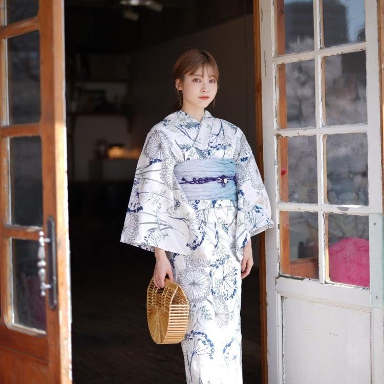 品番 5010170912 / utatane 浴衣3点セット(F)変わり生地 華やか 可愛い系 わたげ ベージュ系(画像)