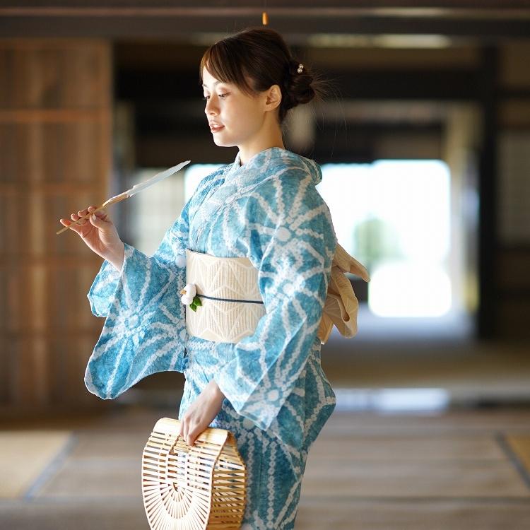 品番 5010180411 / utatane 浴衣3点セット(F)有松絞り 大人 綺麗系 麻の葉 青緑系(画像)