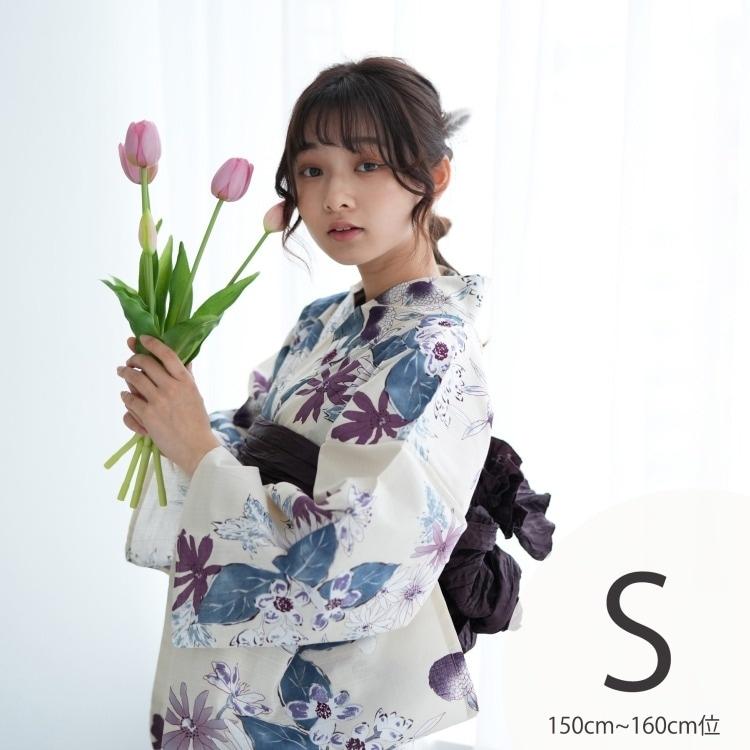 品番 5011145711 / utatane 浴衣3点セット(S)変わり生地 しっとり大人系 草花 アイボリー系(画像)