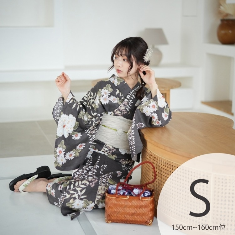 品番 5011149411 / utatane 浴衣3点セット(S)変わり生地 大人 綺麗系 椿 茶系(画像)