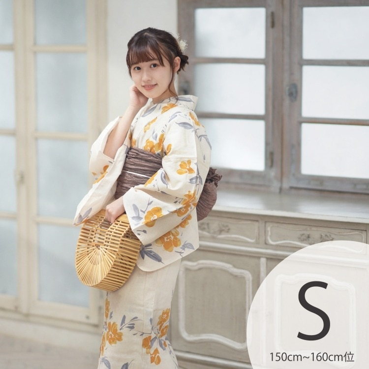 品番 5011152711 / utatane 浴衣3点セット(S)変わり生地 華やか 可愛い系 花 ベージュ系(画像)