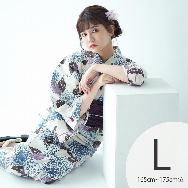 品番 5012145811 / utatane 浴衣3点セット(TL)変わり生地 しっとり大人系 菊 アイボリー系(画像)