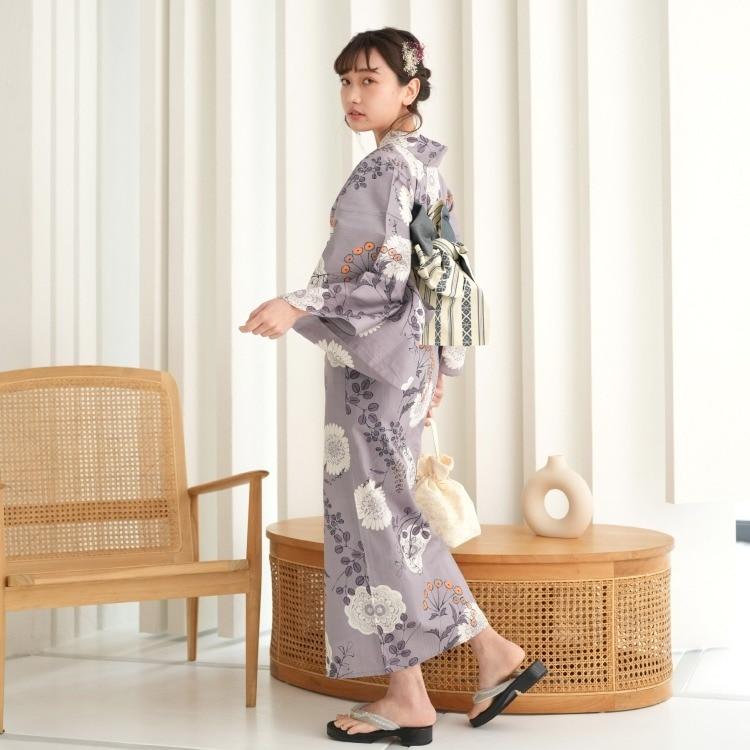 品番 5012167411 / 浴衣3点セット ニコアンティーク クール シック モノトーン 系 花々 紫 系(画像)