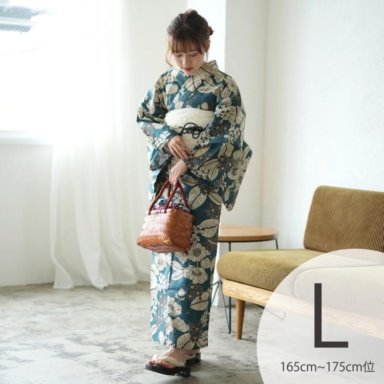 品番 5012168111 / ニコアンティーク 浴衣3点セット(TL)変わり生地 華やか 可愛い系 草花 青系(画像)