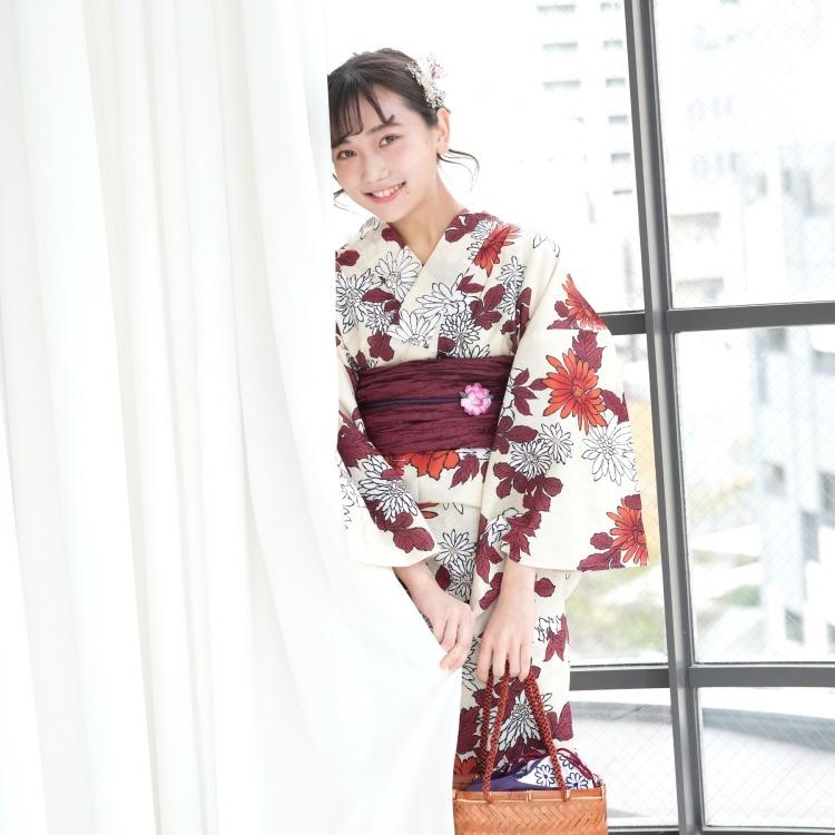 品番 5013047212 / 浴衣3点セット utatane 古典柄 レトロ アンティーク 系 菊 ベージュ 系(画像)
