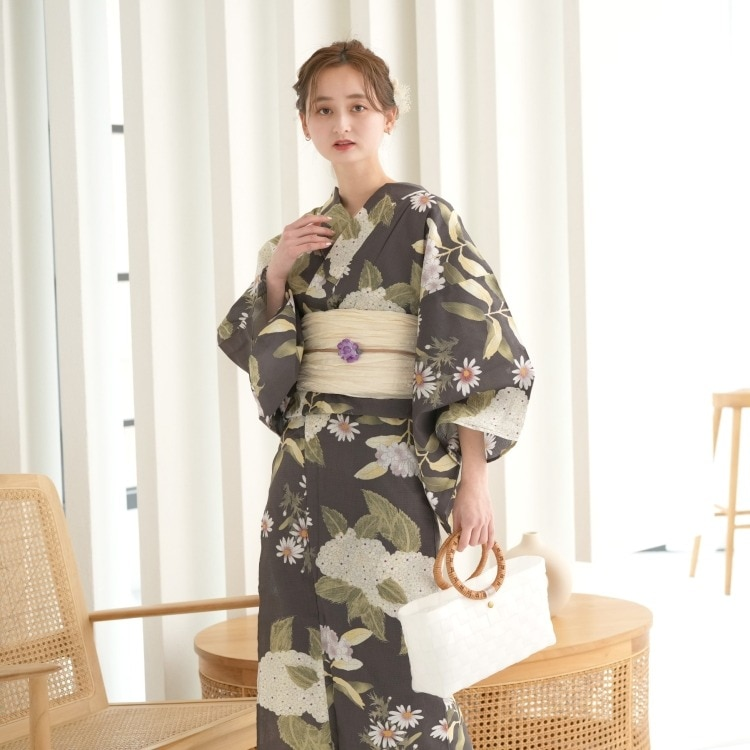 品番 5013149511 / utatane 浴衣3点セット(3L)変わり生地 大人 綺麗系 紫陽花 茶系(画像)
