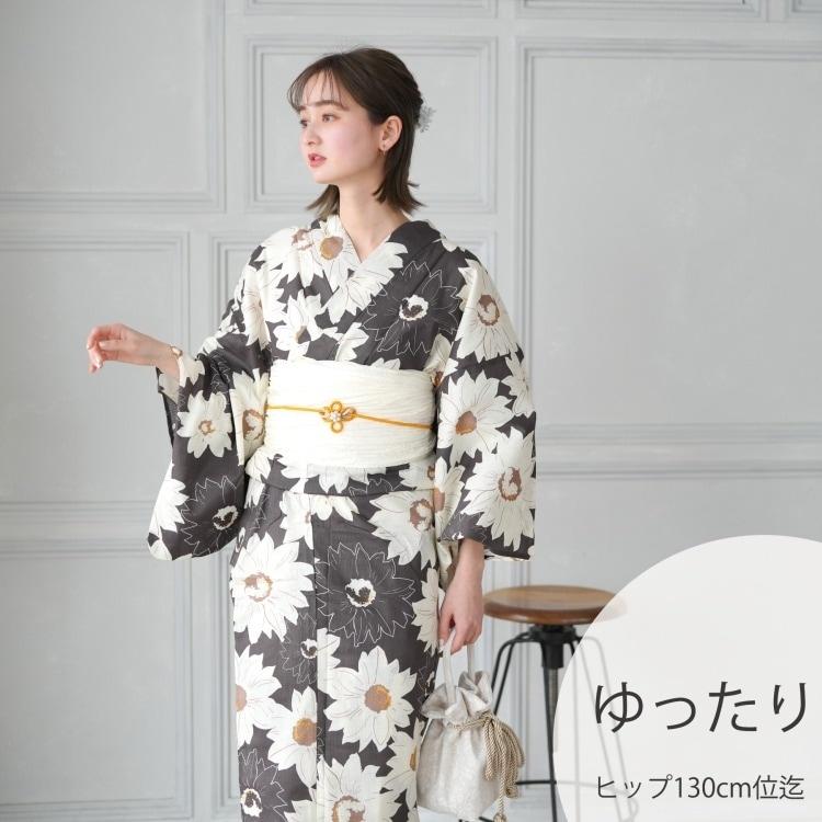 品番 5013149611 / 浴衣3点セット utatane レトロモダン 系 ひまわり 茶 系(画像)