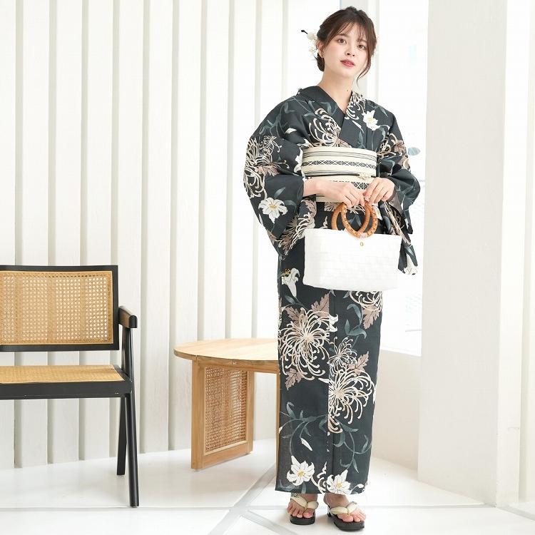 品番 5013149711 / 浴衣3点セット utatane 大人 綺麗 系 糸菊 鉄紺 系(画像)