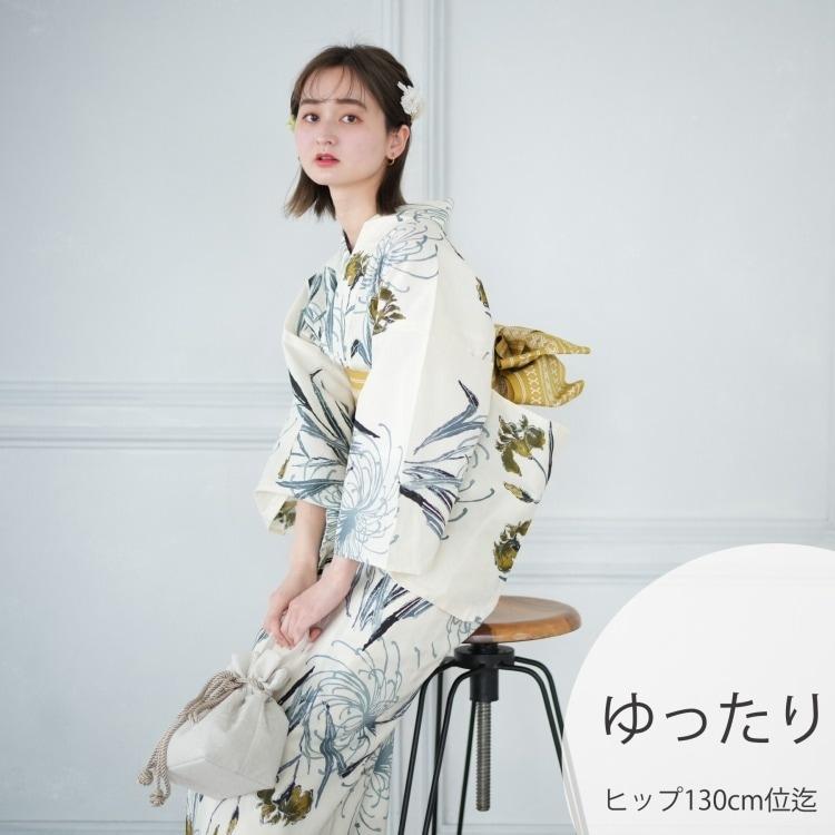 品番 5013153211 / 浴衣3点セット utatane しっとり大人 系 菖蒲と糸菊 きなり 系(画像)