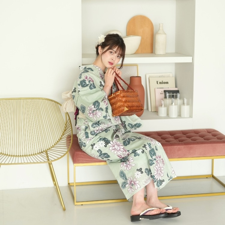 品番 5013153711 / 浴衣3点セット utatane 古典柄 レトロ アンティーク 系 花 グリーン 系(画像)