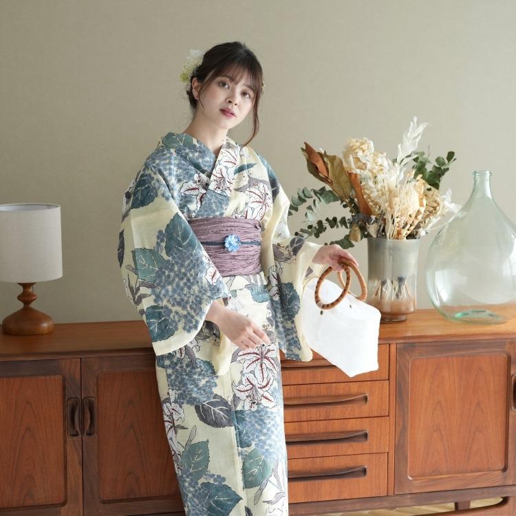 品番 5013155412 / utatane 浴衣3点セット(3L)変わり生地 大人 綺麗系 紫陽花 ベージュ系(画像)