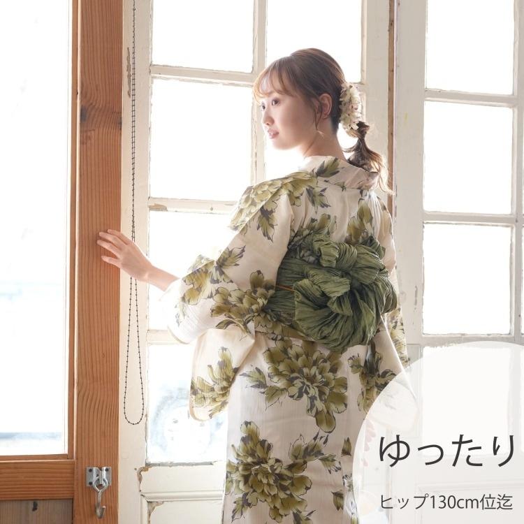 品番 5013167011 / 浴衣3点セット ニコアンティーク しっとり大人 系 菊 ベージュ 系(画像)