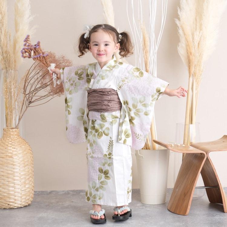 品番 6510189331 / utatane 女の子 浴衣3点セット(100cm)兵児帯 古典柄 レトロ アンティーク系 花 オフ白系(画像)