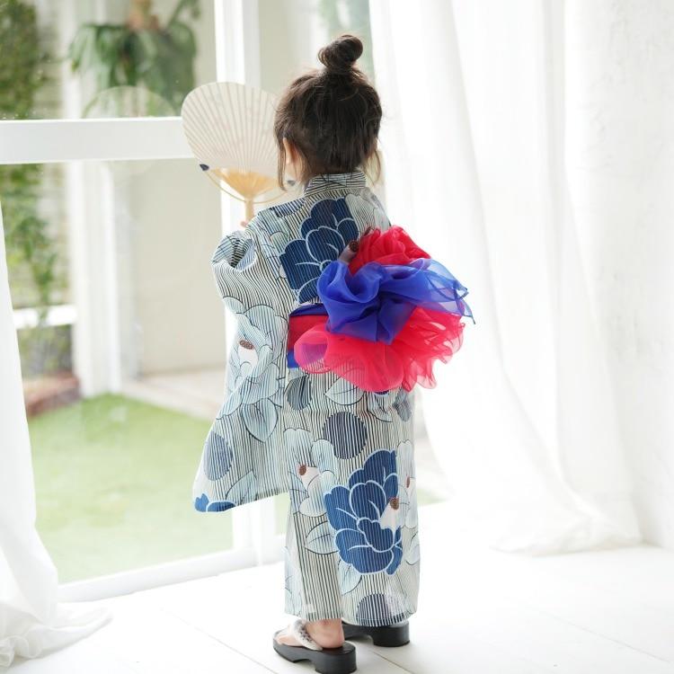 子供浴衣 4点セット   (浴衣/帯2本/下駄)(サブ4画像)