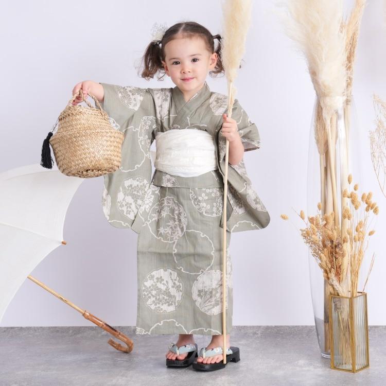 子供浴衣 3点セット  (浴衣/帯/下駄)(サブ2画像)