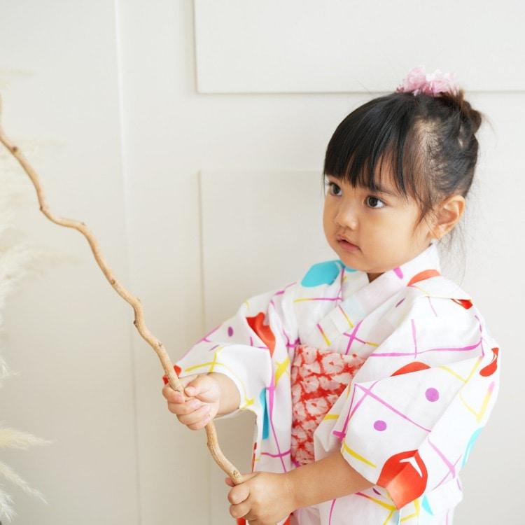 子供浴衣 3点セット  (浴衣/帯/下駄)(サブ5画像)