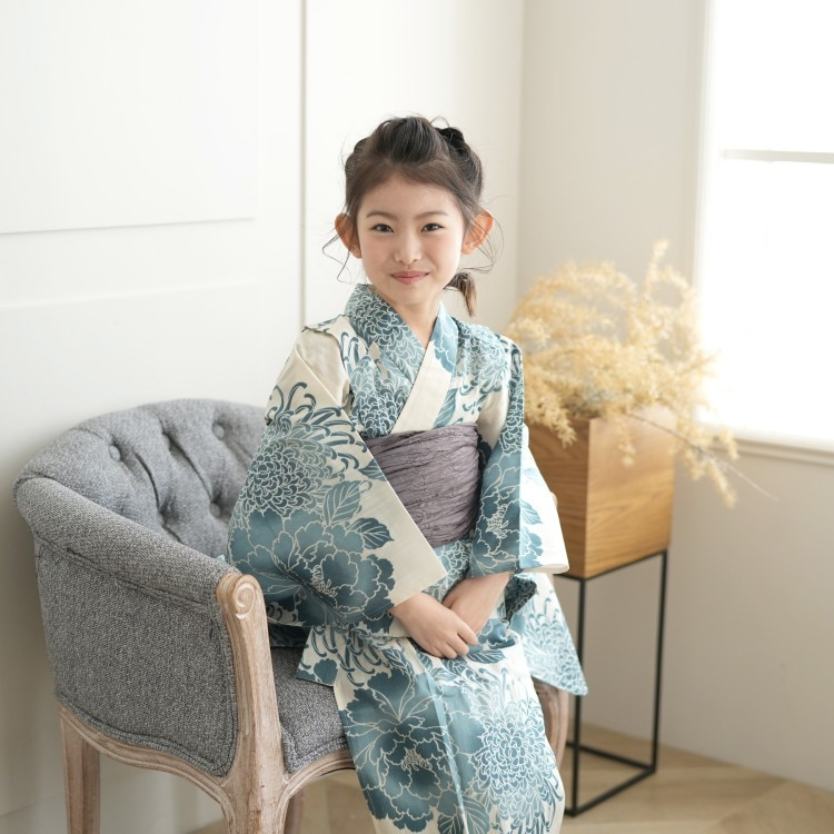 子供浴衣 3点セット  (浴衣/帯/下駄)(サブ6画像)
