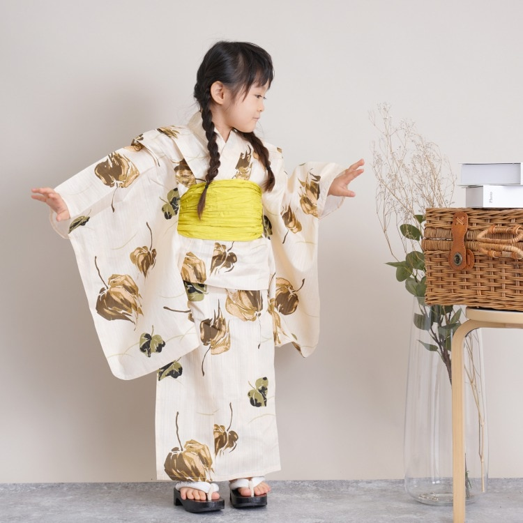 子供浴衣 3点セット  (浴衣/帯/下駄)(メイン画像)