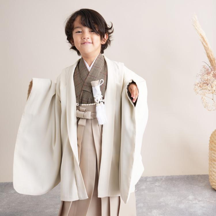 品番 6720601300 / かぷり 男児(5歳)七五三 着物 袴セット レトロモダン系 グレンチェック ベージュ系(画像)