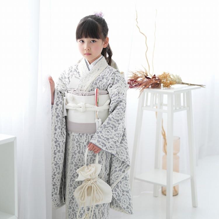 品番 6728605600 / utatane 女児(7歳)七五三 着物はこせこセット レトロモダン 系 レース 白系(画像)