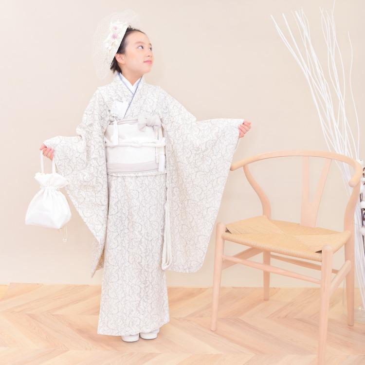 品番 6728605900 / utatane 女児(7歳)七五三 着物はこせこセット レトロモダン 系 レース 白系(画像)