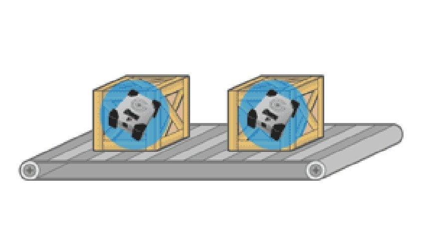 コンベア-ライン上の振動記録
