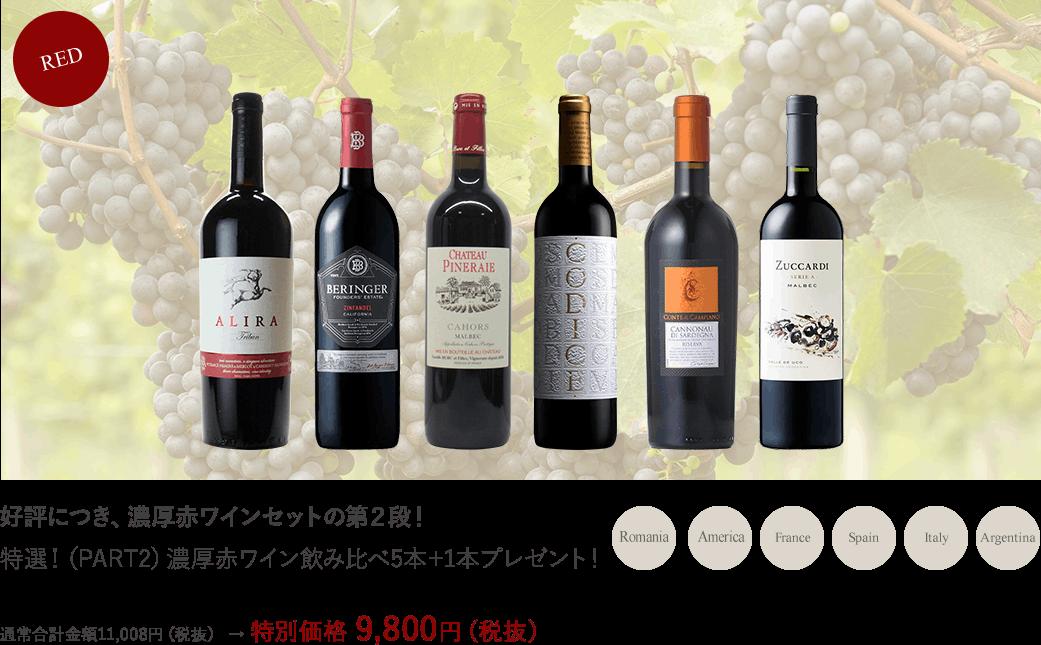 特選!濃厚赤ワイン飲み比べ5本セット+1本プレゼント!
