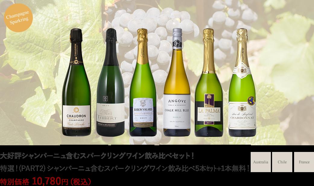 特選!(PART2) シャンパーニュ含むスパークリングワイン飲み比べ5本セット+1本無料
