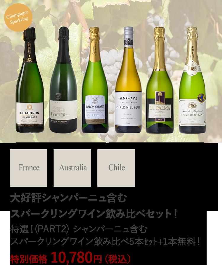 特選!(PART2) シャンパーニュ含むスパークリングワイン飲み比べ5本セット+1本無料!