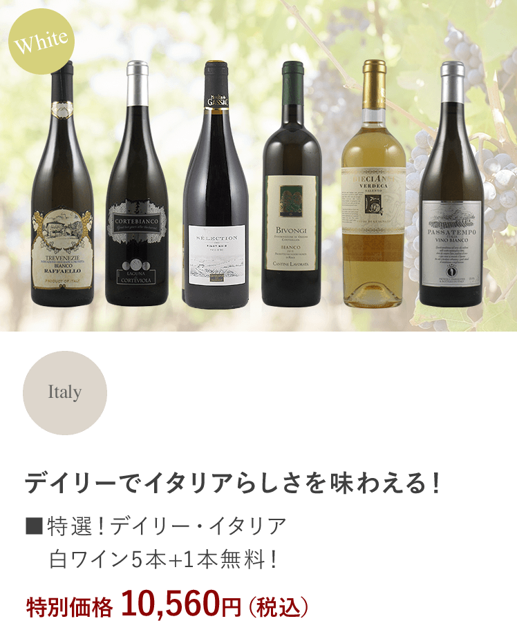 ■特選!デイリー・イタリア白ワイン5本+1本無料!
